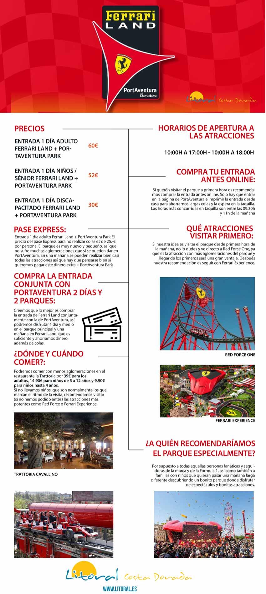 Infografia de los mejores consejos y recomendaciones de Ferrari Land